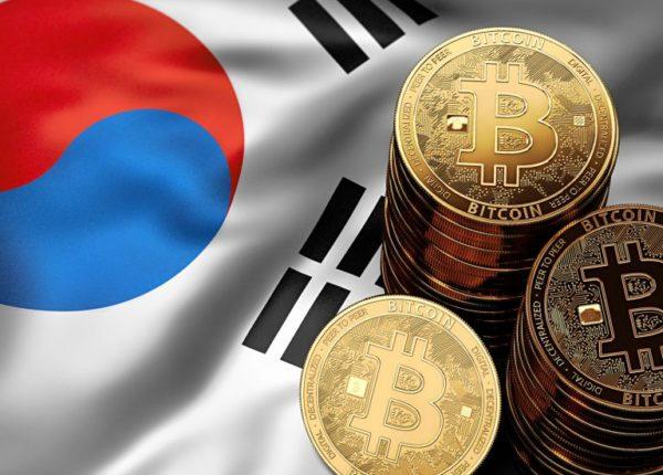 韓国国旗とビットコイン