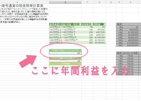 「仮想通貨・暗号通貨の税金簡単計算表」の入力欄はここ