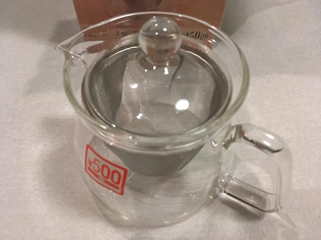「耐熱ガラス製 ティーポット 約450ml」を組み立てたところ