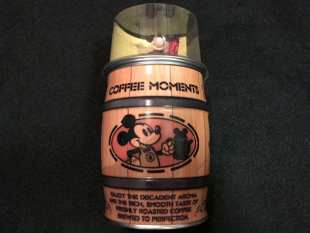 ミッキーフィギュア付き樽インスタントコーヒー「パッケージ側面表側」